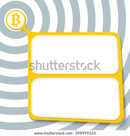 Abstract yellow box for your text and bit coin symbol - stock vector
