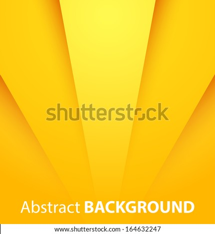 Abstract yellow paper background with shadow. Vector illustration - stock vector
