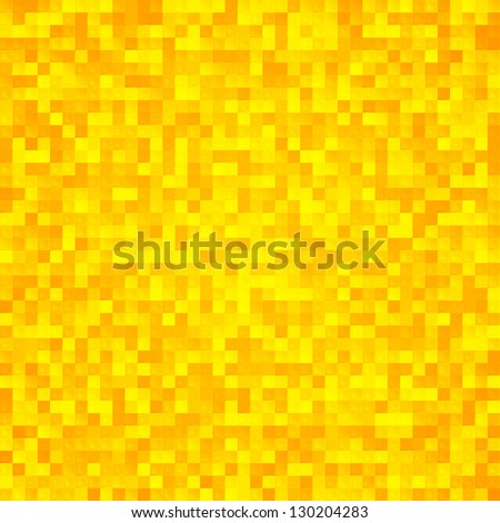 Abstract yellow pixel mosaic seamless background - stock vector