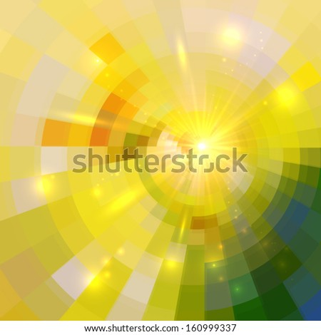 Abstract yellow shining circle tunnel vector background - stock vector