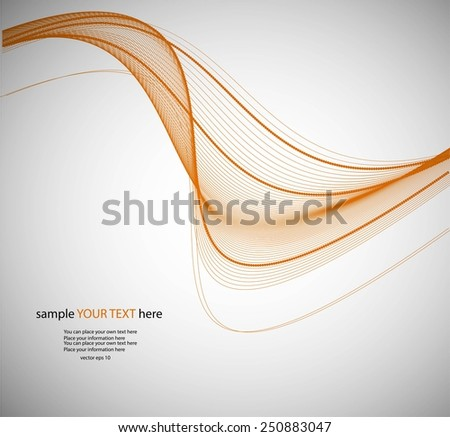 Abstract yellow waves on gray background - stock vector