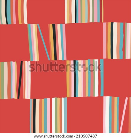 abstracted study in uneven stripes and squares - stock vector
