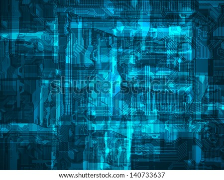 abstraction, blue printed circuit board - stock vector