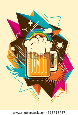 Abstraction with glass of beer. Vector illustration. - stock vector