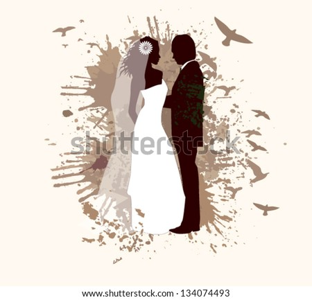Abstraction with the newlyweds and birds - stock vector