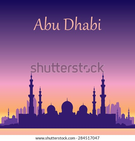 Abu Dhabi skyline silhouette background with a Grand Mosque, vector illustration - stock vector