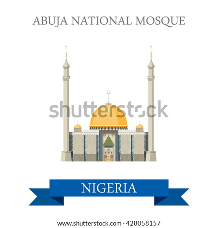 Abuja National Mosque in Nigeria. Flat cartoon style historic sight showplace attraction web site vector illustration. World countries cities vacation travel sightseeing Africa collection. - stock vector