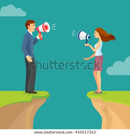 Abyss, gap concept with man and woman shouting trying to sort out relations. Vector colorful illustration in flat style. - stock vector