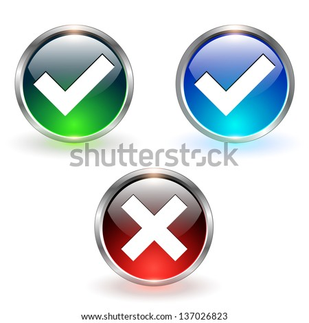 Accept and negate, yes no icons. - stock vector