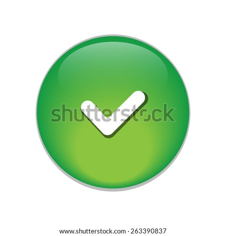 accept green circle glossy web icon on white background. - stock vector