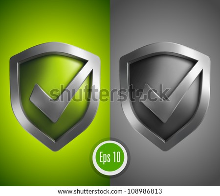 Accept green shield icon - stock vector
