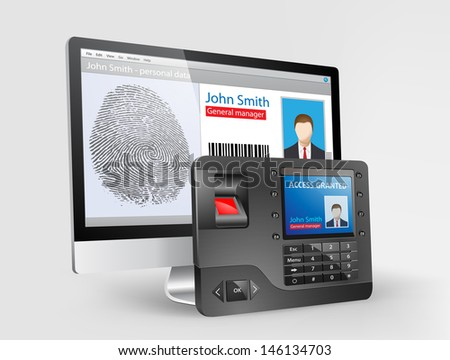 Access - Biometric fingerprint reader - stock vector