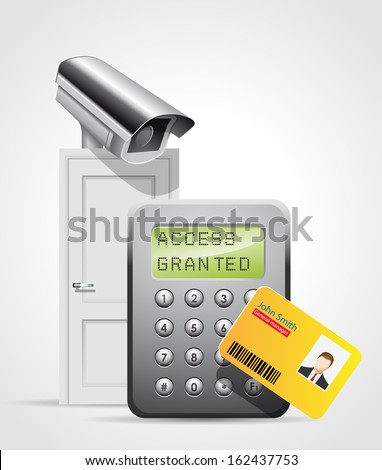 Access control system - security door - cctv entry protection - stock vector