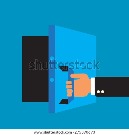 access to banking services: open safe deposit box - stock vector