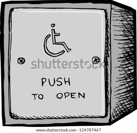 Accessible electronic door opener button on white background - stock vector