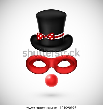 Accessories a clown (hat, mask and, red nose). Eps 10 - stock vector