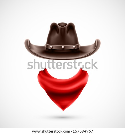 Accessories cowboy (hat and scarf), eps 10 - stock vector