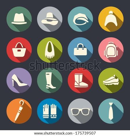 Accessories icon set - stock vector