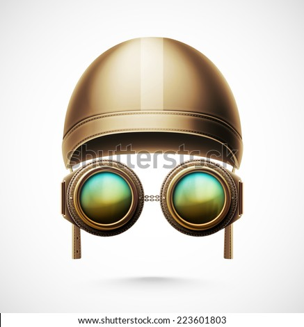Accessories pilot (helmet and glasses), eps 10 - stock vector