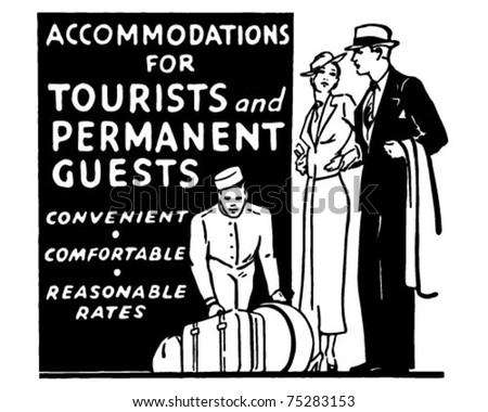 Accommodations For Tourists - Retro Ad Art Banner - stock vector