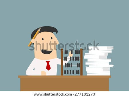 Accountant or cartoon businessman sitting at his desk using an abacus for his calculations as paperwork piles up alongside - stock vector