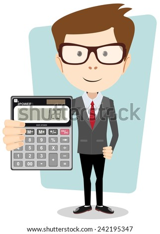 Accountant or manager shows the calculator to work - stock vector
