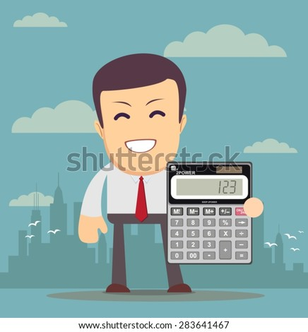 Accountant or manager shows the calculator to work, for use in presentations. Stock Vector illustration - stock vector