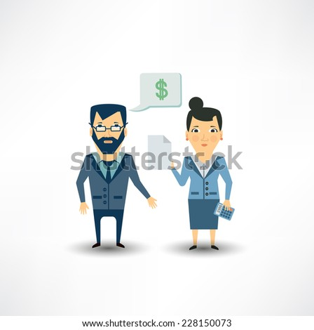 Accountant tells the client - stock vector