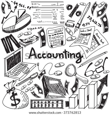 Accounting and financial education handwriting doodle icon of banknote, money, balance sheet and cost and revenue sign and symbol in isolated background paper for business presentation title (vector) - stock vector