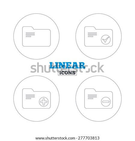 Accounting binders icons. Add or remove document folder symbol. Bookkeeping management with checkbox. Linear outline web icons. Vector - stock vector