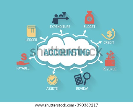 Accounting - Chart with keywords and icons - Flat Design - stock vector