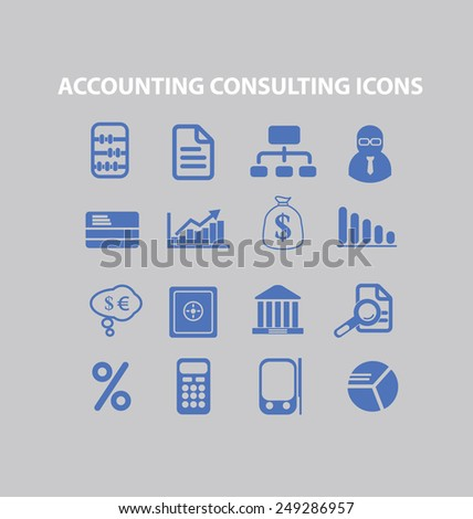 accounting, consulting, finance icons, signs, illustrations set, vector - stock vector
