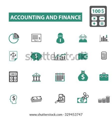 accounting, finance, taxes, calculator icons - stock vector