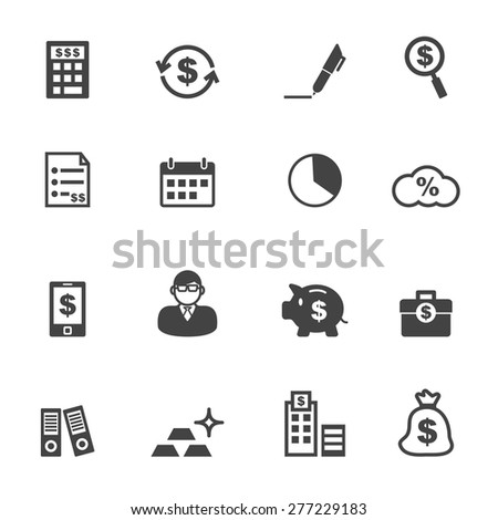 accounting icons, mono vector icons - stock vector