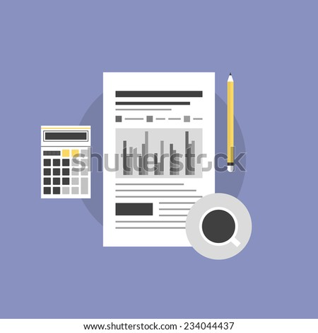 Accounting planning and financial workflow, finance analytics and market data sales, paperwork with statistics. Flat icon modern design style vector illustration concept. - stock vector
