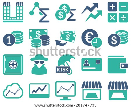 Accounting service and trade business icon set. These flat bicolor symbols use cobalt and cyan colors. Vector images are isolated on a white background. Angles are rounded. - stock vector