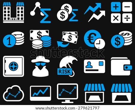 Accounting service and trade business icon set. These flat bicolor symbols use  light blue and white colors. Vector images are isolated on a black background. Angles are rounded. - stock vector