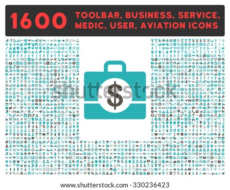 Accounting vector icon and 1600 other business, service tools, medical care, software toolbar, web interface pictograms. Style is bicolor flat symbols, grey and cyan colors, rounded angles, white - stock vector