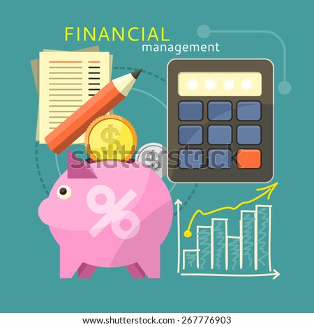 Accounting with digital calculator. Financial management concept with item icons graph, pig, calculator, document page in flat design - stock vector