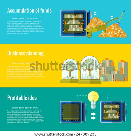 accumulation of funds business planning profitable idea three flat concept background.wheelbarrow money and safe, stacks of money and money trees under bulb, empty safe  light bulb and safe with money - stock vector