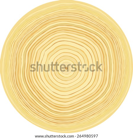 Accurate smooth raw wood log cut slice texture. Isolated on white background - stock vector