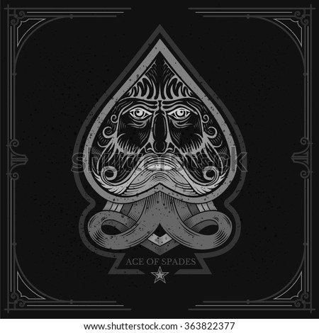 Ace of spades with Neptune face inside. White on black - stock vector
