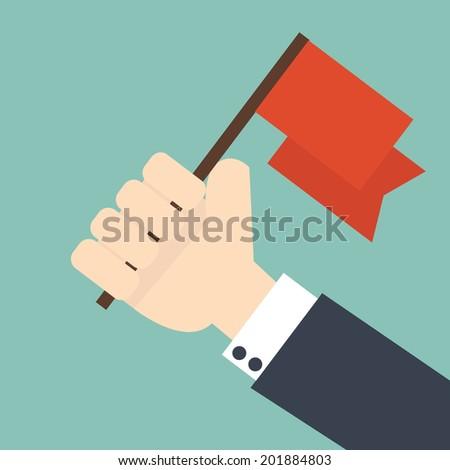 Achievement concept - Businessman holding winner flag - stock vector