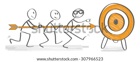 Achieving goal concept - Businesspeople holding arrow  - stock vector