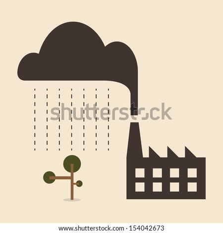 Acid rain cause from industry pollution falling to the tree - stock vector