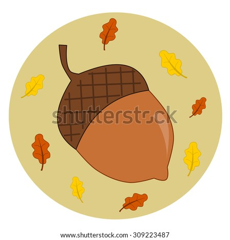 acorn with leaves autumn fall vector illustration - stock vector
