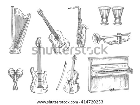 Acoustic and electric guitars, saxophone, violin, trumpet, upright piano, conga drums and harp sketches. Vintage engraving musical instruments icons for art, music, entertainment theme - stock vector