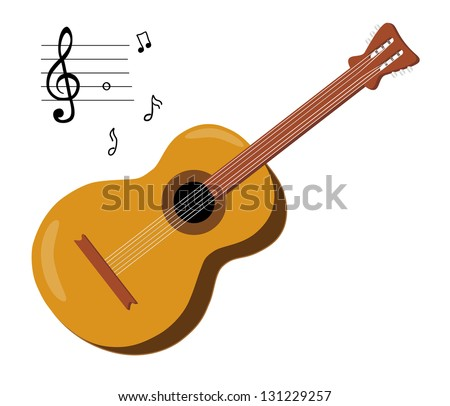 Acoustic guitar and musical notes isolated on white background - stock vector