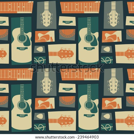 Acoustic guitar collage. vector seamless pattern - stock vector
