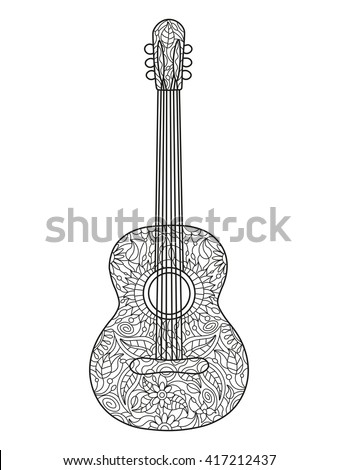 Acoustic guitar coloring book for adults vector illustration. Black and white lines. Lace pattern - stock vector